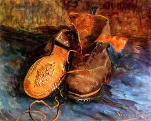 """1. """"A Pair of Shoes"""", Van Gogh, 1887, oil on canvas, 34 x 41.5 cm, Baltimore, The Baltimore Museum of Art."""