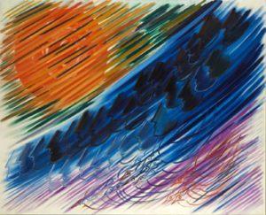 Roberta González, Sens obligatoire n. 1, 1969, huile sur toile, 130 x 163 cm, IVAM, Institut Valencià d'Art Modern, Generalitat. Donation C.Martínez y V.Grimminger, Paris.