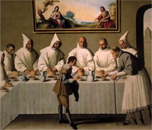 Francisco de Zurbarán, <i>San Hugo en el refectorio de los Cartujos (Saint Hugues au réfectoire des Chartreux)</i>, 1655, huile sur toile, 262 cm × 307 cm, Séville, Museo de bellas artes