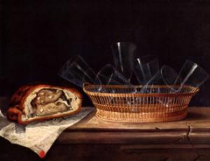 Sébastien Stoskopff, Nature morte aux verres et au pâté, 1644, huile sur toile, 52 × 63 cm, Strasbourg, musée de l'Œuvre Notre Dame