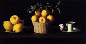 Francisco de Zurbarán, Bodegon con limones naranjas, una rosa y un vaso de agua (Nature morte avec citrons, oranges, une rose et un verre d'eau), 1633, huile sur toile, 62,2 × 109,5 cm, Pasadena, Norton Simon Museum