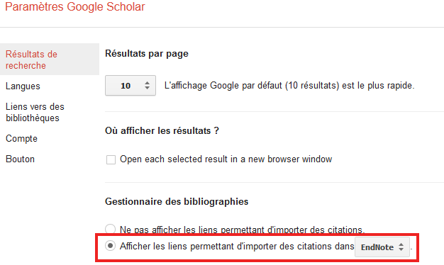 Illustration export bibliographique dans Google Scholar
