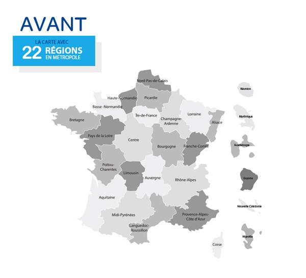 c2e27954274 Carte représentant les 22 régions françaises avant la réforme territoriale  de 2014