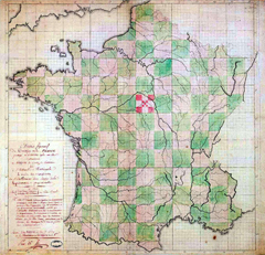 Carte représentant la France divisée en carreaux égaux, les départements