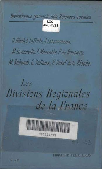 c551030bce5 Couverture de l ouvrage Les divisions régionales de la France