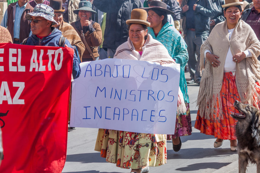 Demonstration in La Paz, Bolivia, 2015. Copyright: Shutterstock