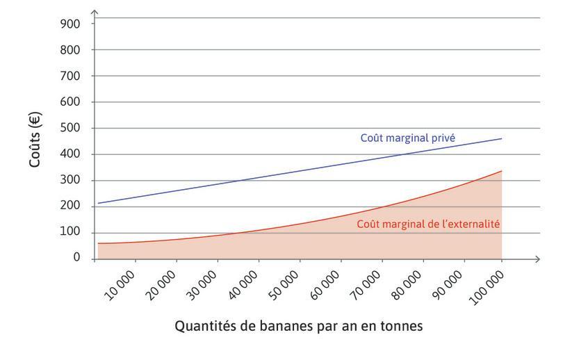 Les coûts marginaux de l'externalité : À partir de la courbe de coût marginal de l'externalité, nous pouvons colorer en rouge sur le graphique une zone qui va correspondre à l'ensemble des coûts marginaux de l'externalité imposés aux pêcheurs par les bananeraies utilisant le Weekovil.