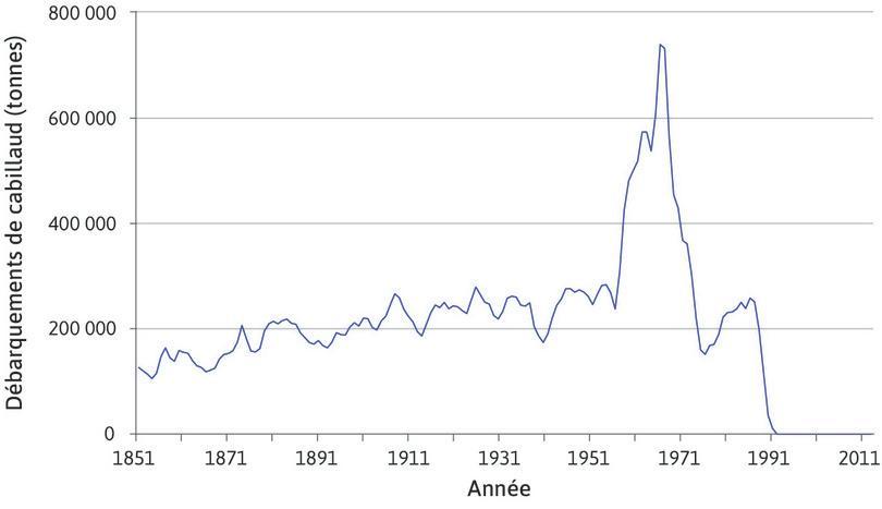 Quantité de cabillauds pêchés dans les Grands Bancs (nord de l'Atlantique) entre 1851 et 2011.