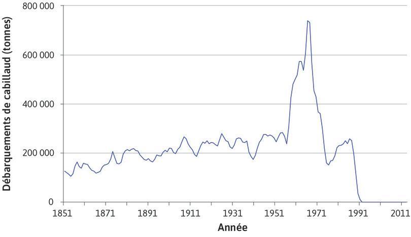 Quantité de cabillauds pêchée dans les Grands Bancs (nord de l'Atlantique) entre 1851 et 2011.