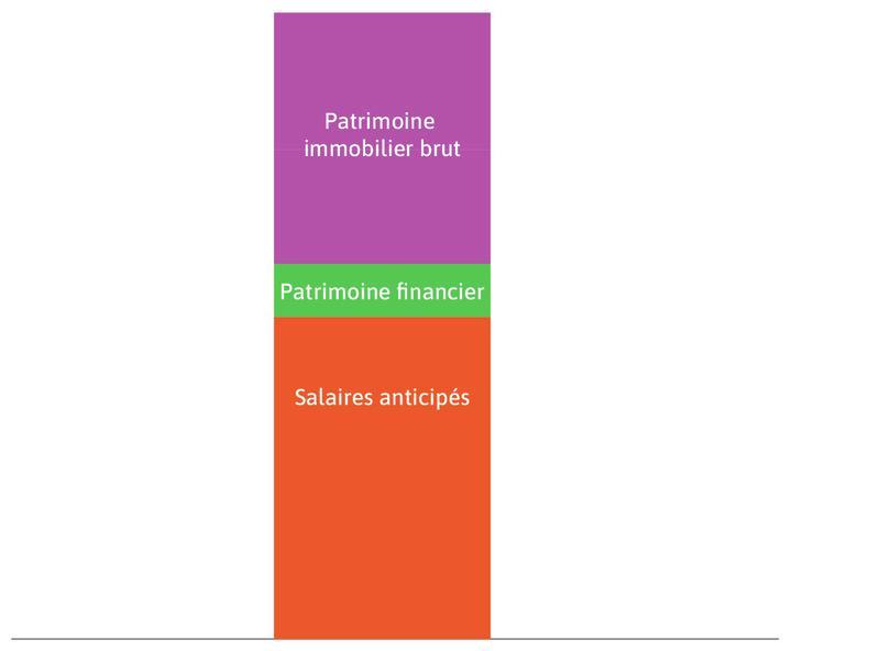 Le patrimoine immobilier brut : C'est le rectangle violet. Le patrimoine immobilier brut désigne la valeur de la maison détenue par le ménage propriétaire.