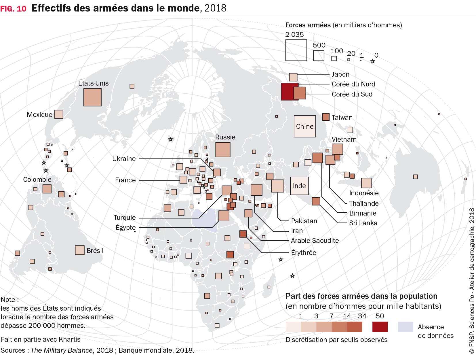Effectifs des armées dans le monde, 2018