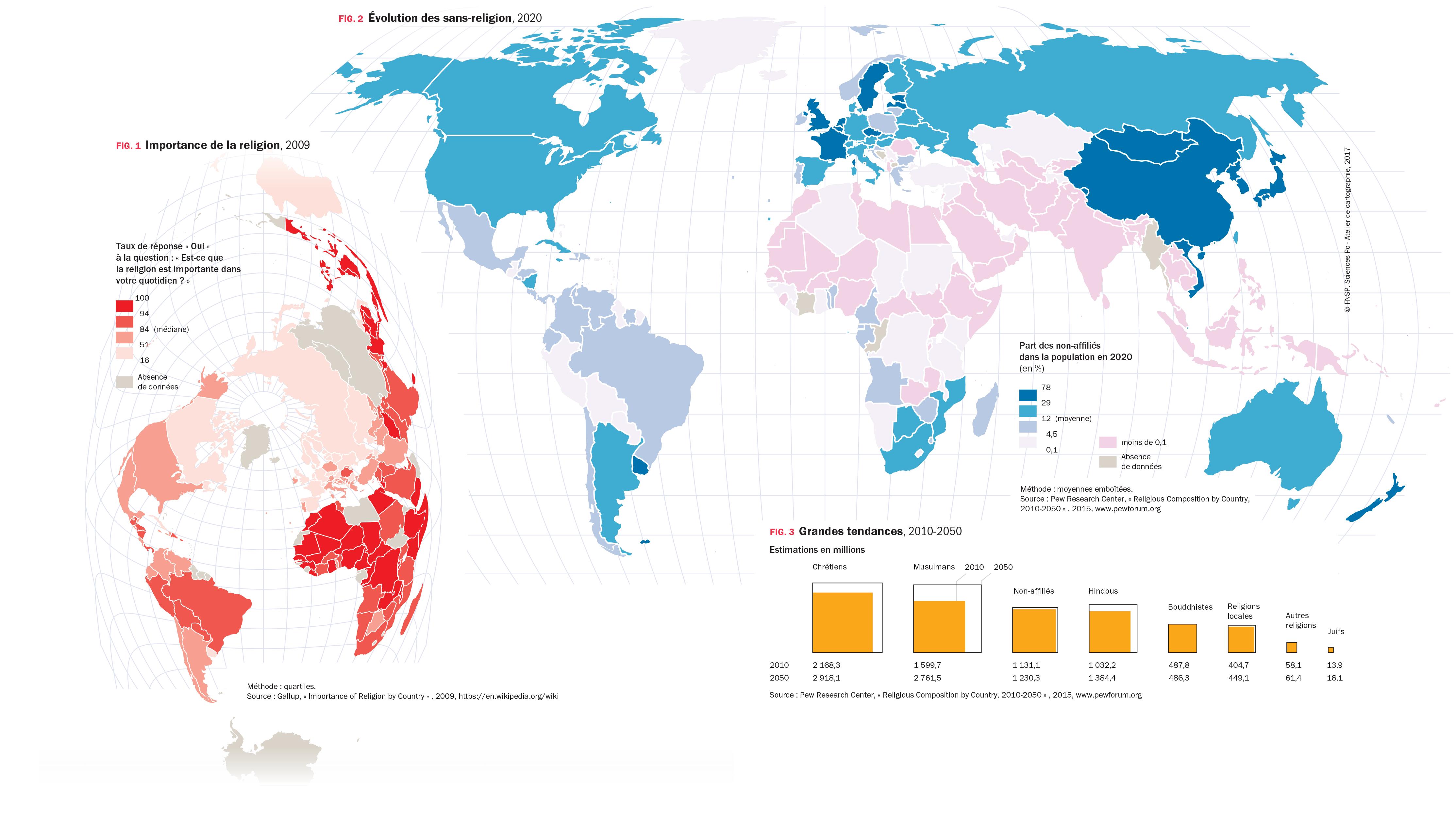 Avec et sans religion dans le monde - 2 cartes et 1 graphique