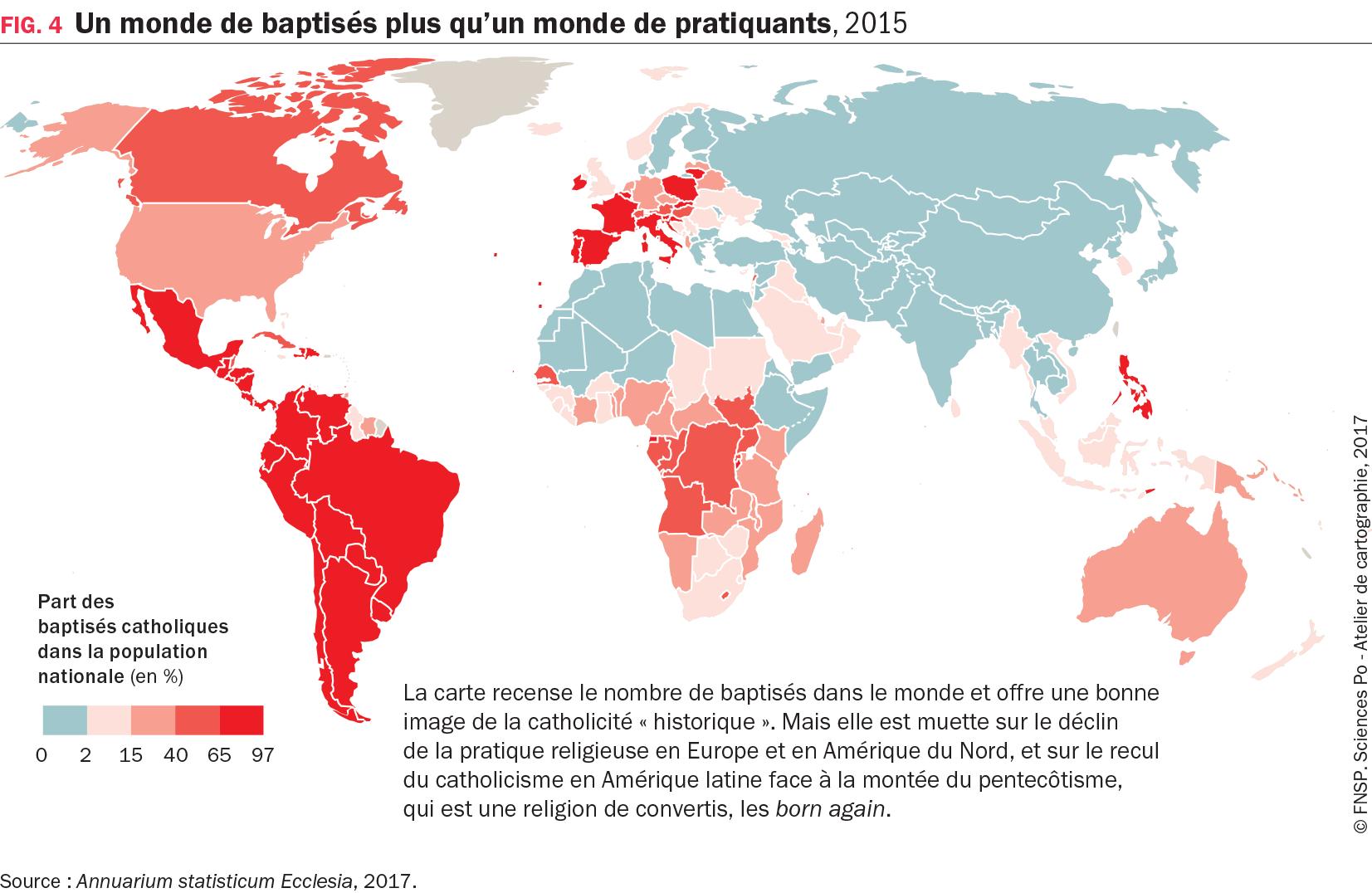 Carte : Un monde de baptisés plus qu'un monde de pratiquants, 2015