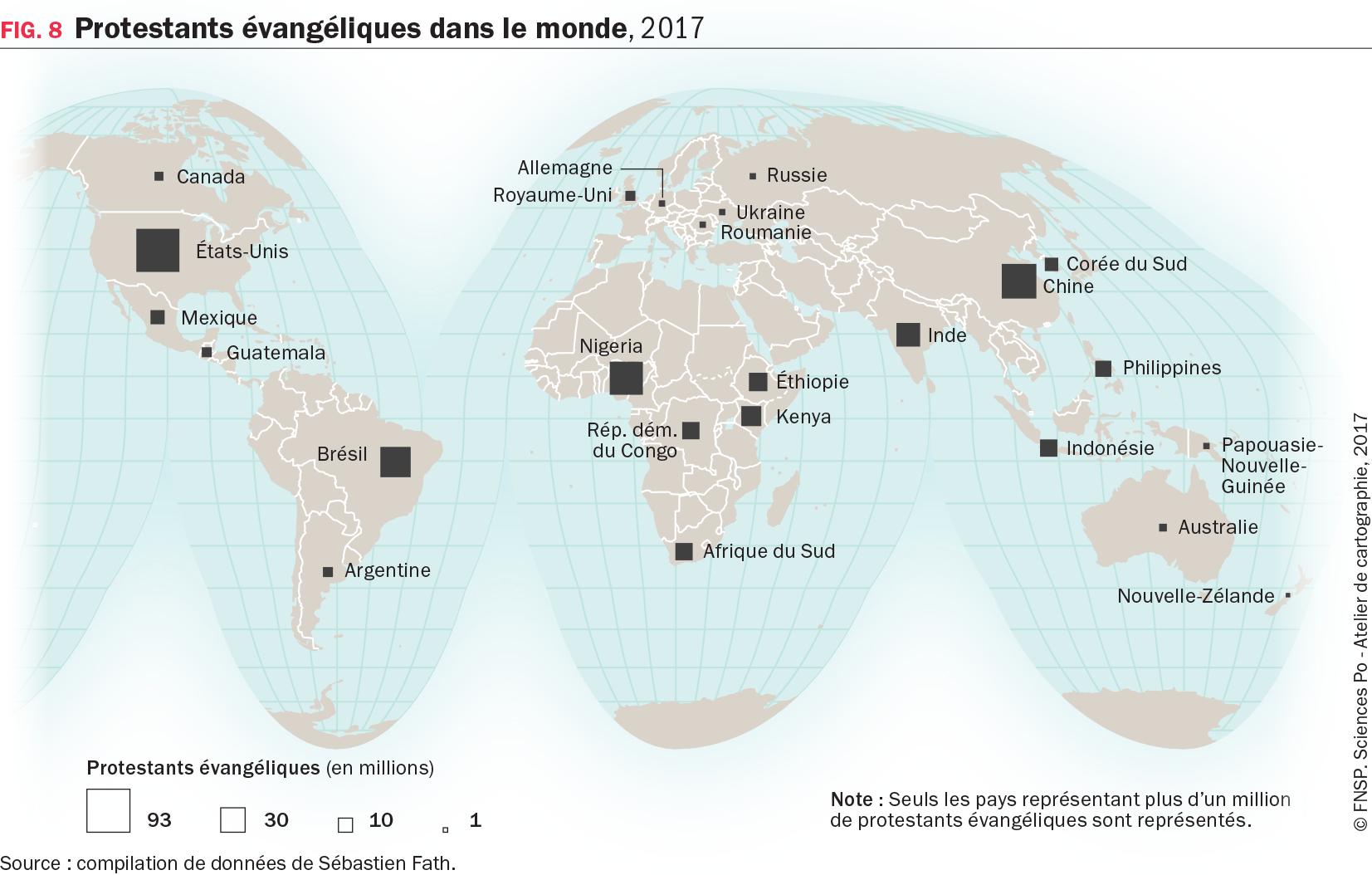Carte : Protestants évangéliques dans le monde, 2017