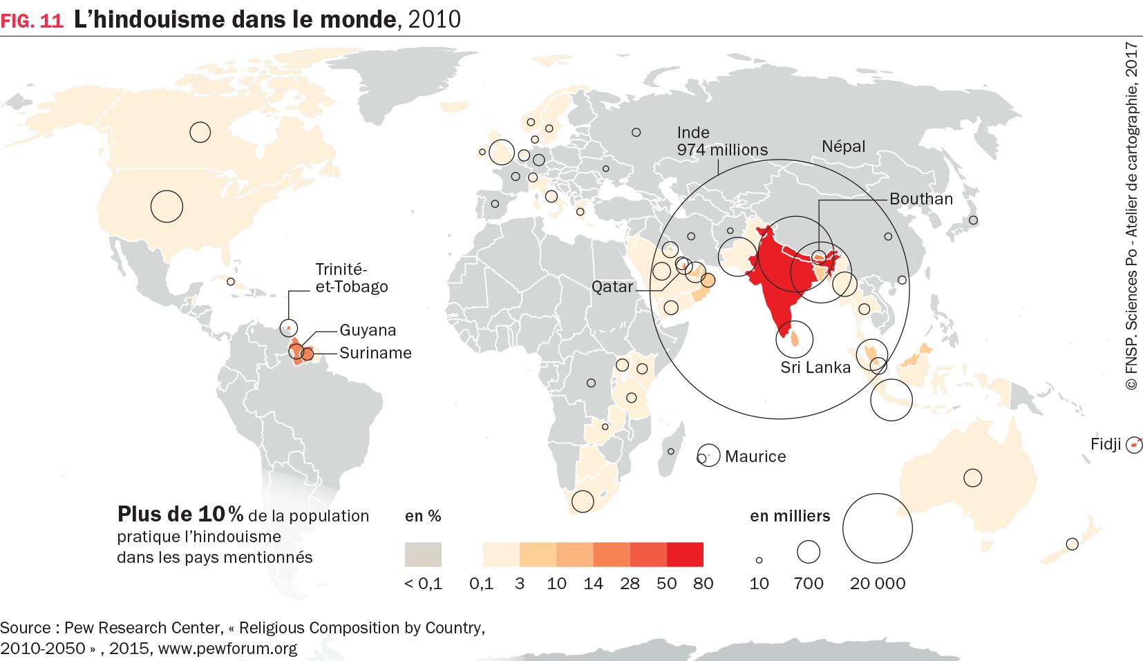 Carte : L'hindouisme dans le monde, 2010