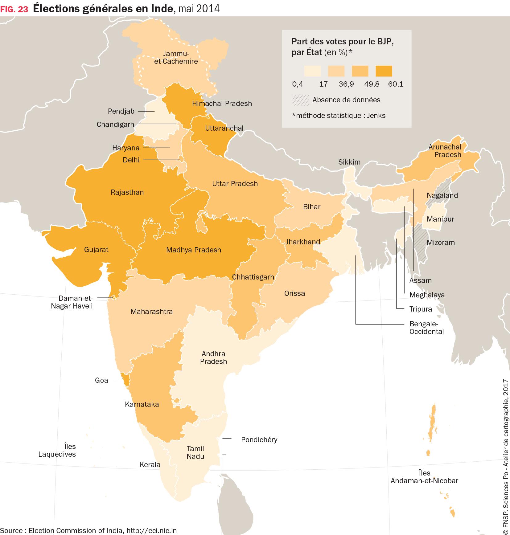 Carte : Élections générales en Inde, mai 2014