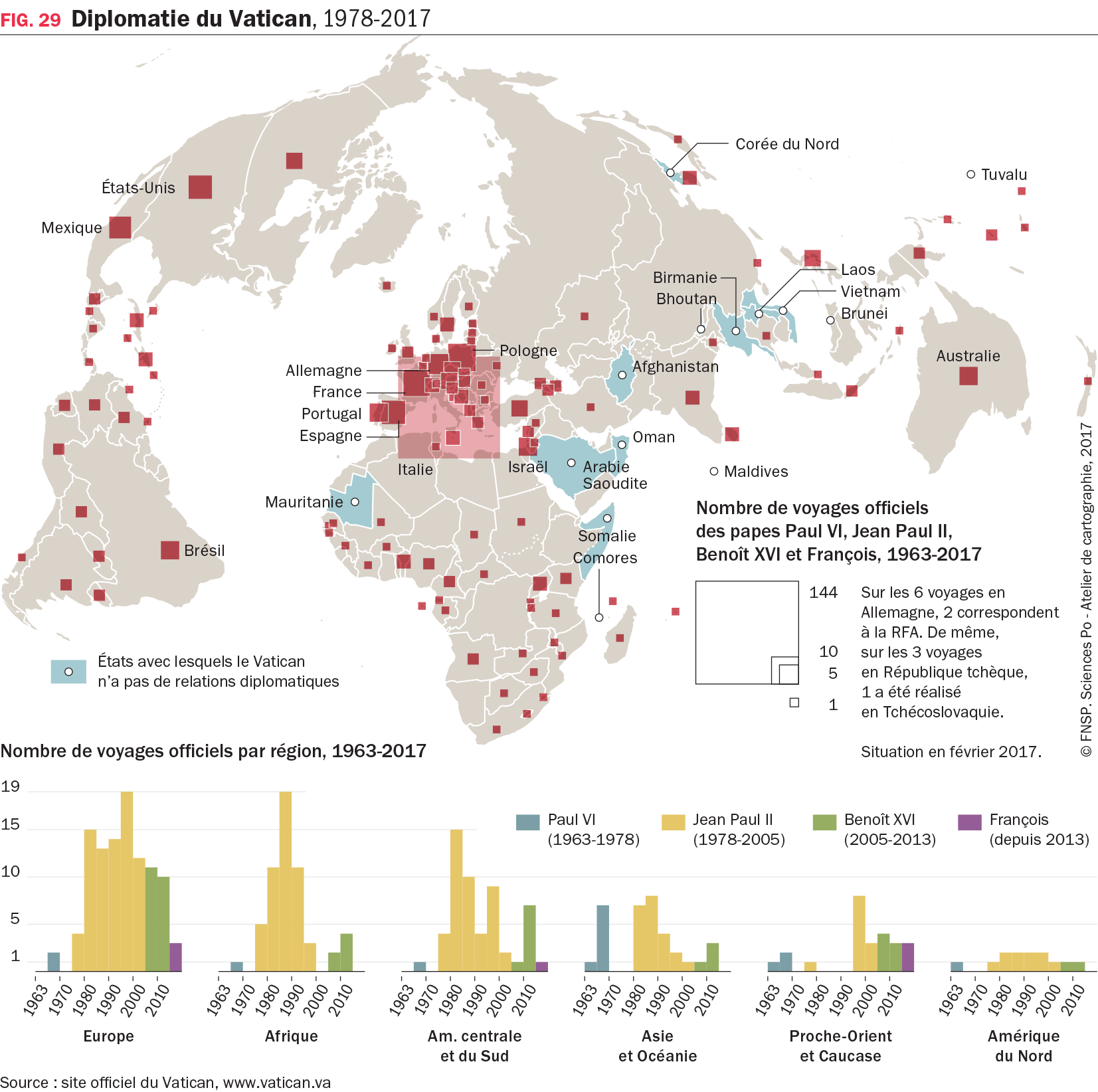 1 carte et 1 graphique : Diplomatie du Vatican, 1978-2017
