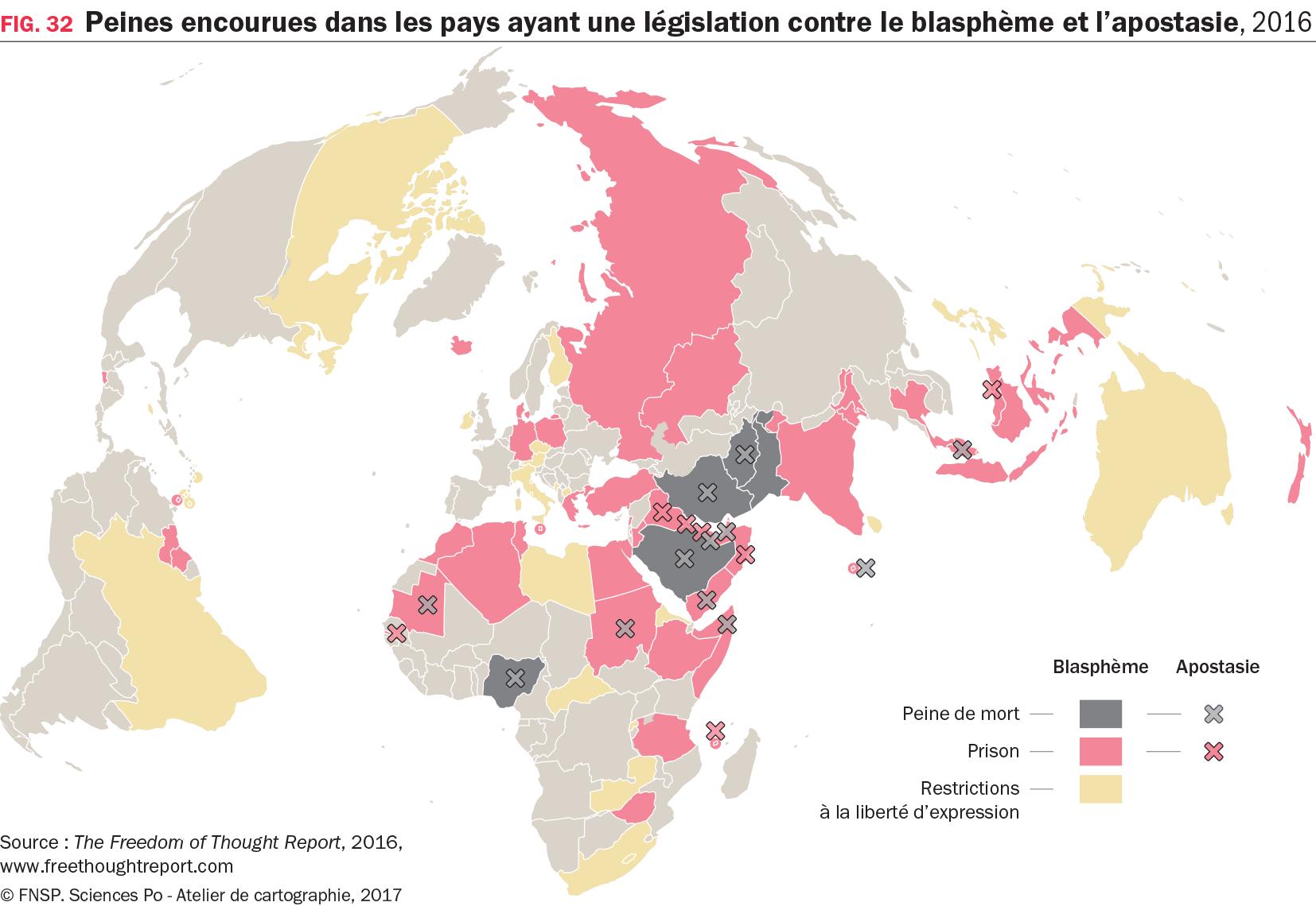 Carte : Peines encourues dans les pays ayant une législation contre le blasphème