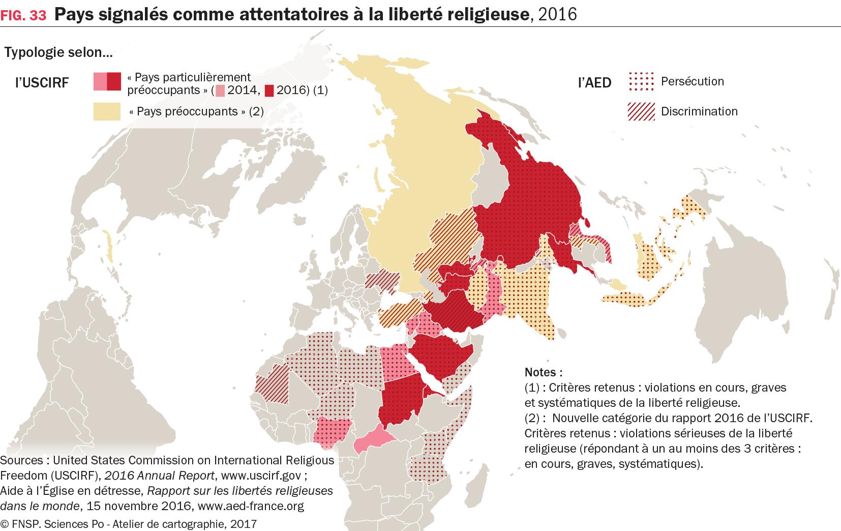 Carte : Pays signalés comme attentatoires à la liberté religieuse, 2016