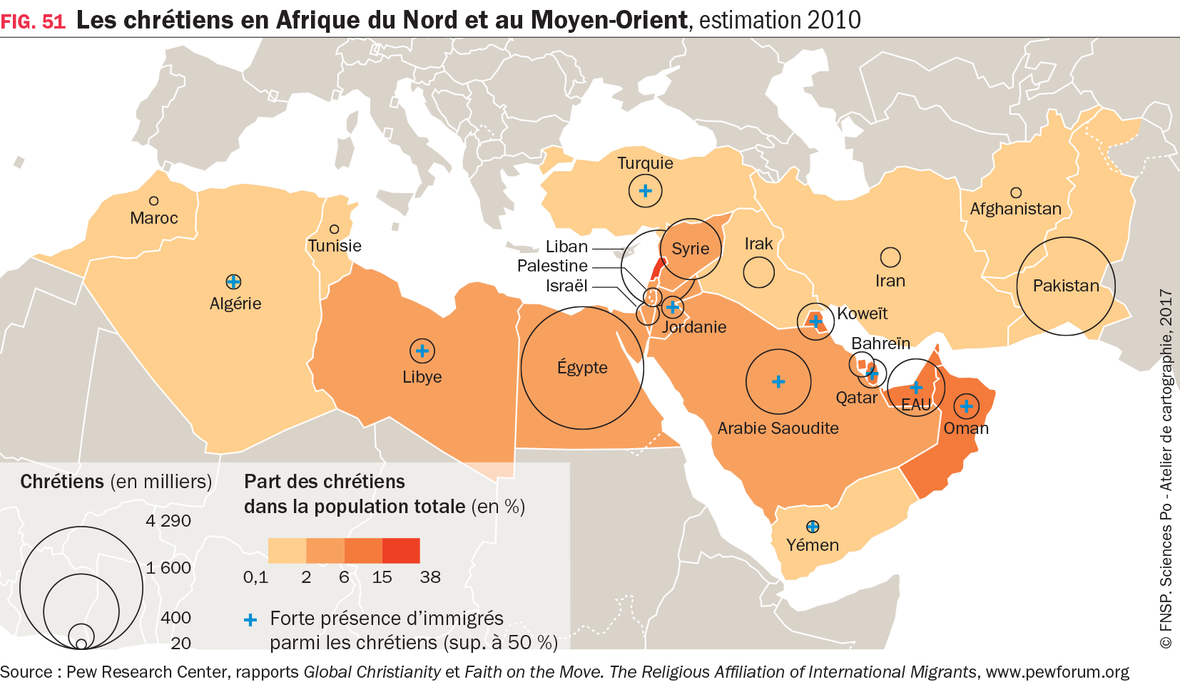 Carte : Les chrétiens en Afrique du Nord et au Moyen-Orient, estimation 2010