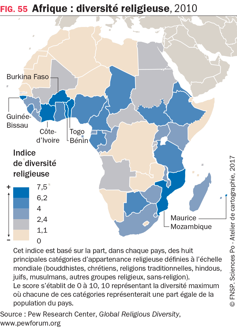 Carte : Afrique : diversité religieuse, 2010