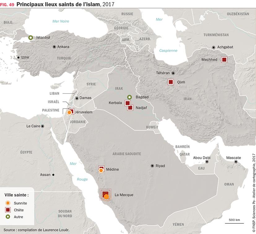 Carte : Principaux lieux saints de l'islam, 2017