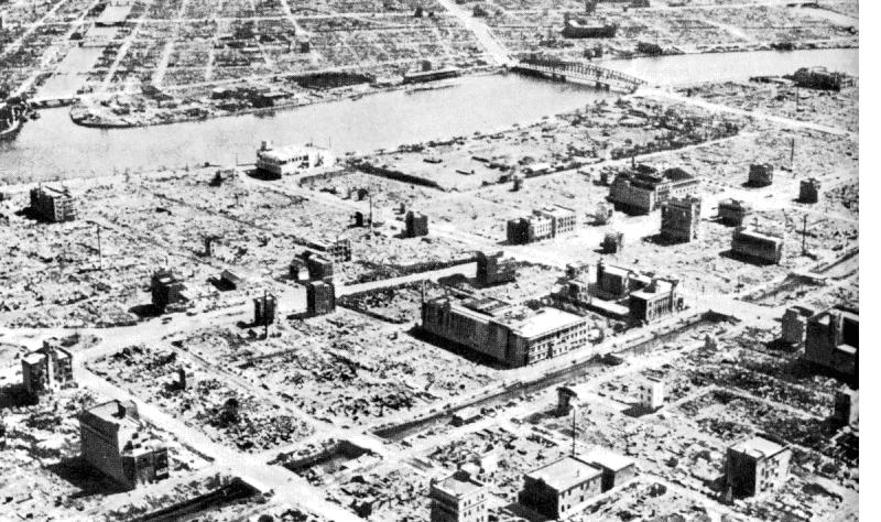 Aerial photo of Tokyo after the bombing of March 9-10. US National Archives