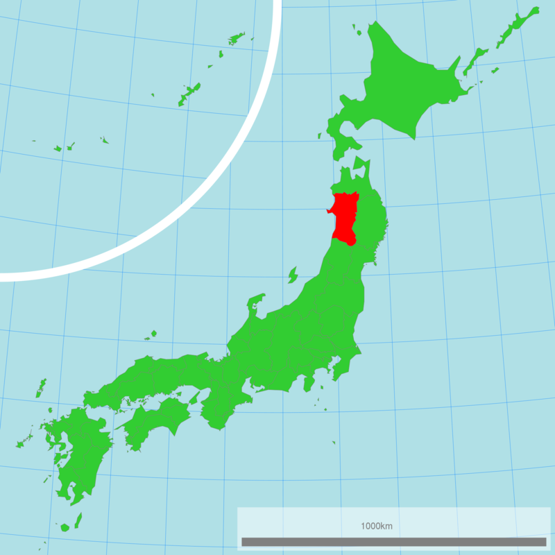 Akita shown in red.
