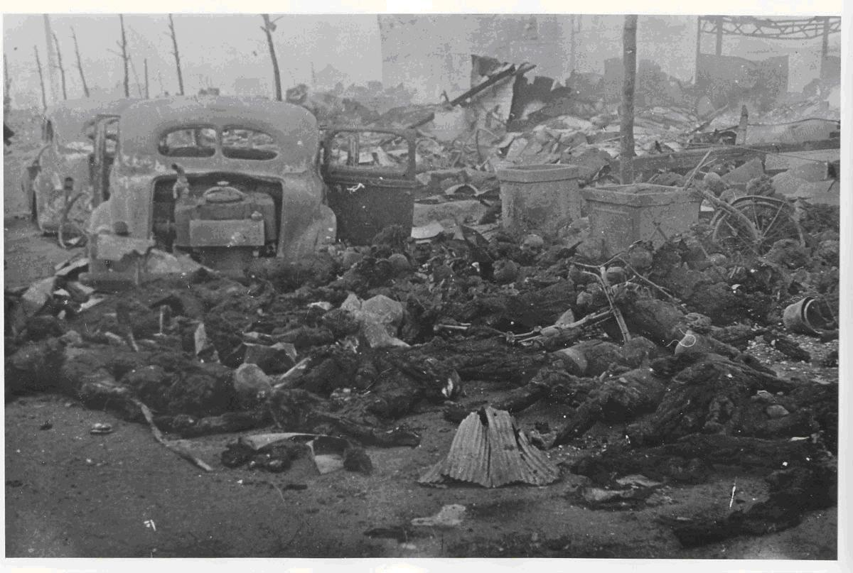 Bodies of people trapped and burned as they fled through a street during the attack on the night of March 9-10. Photograph by Ishikawa Koyo
