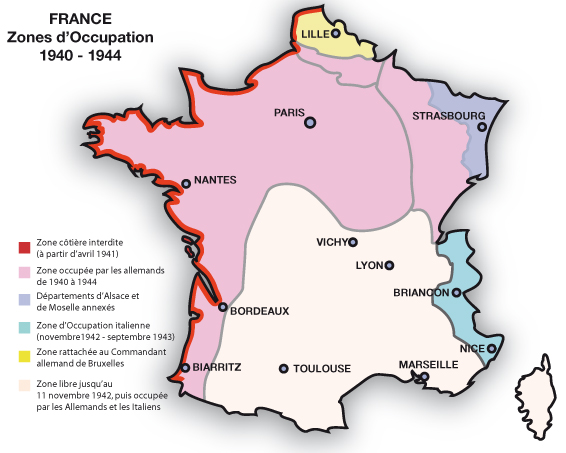 France : zones occupées 1940-1944