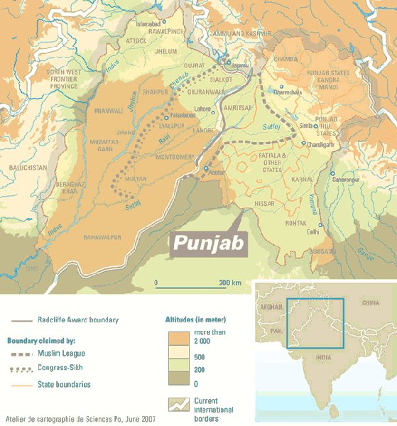 Map of Punjab in 1949