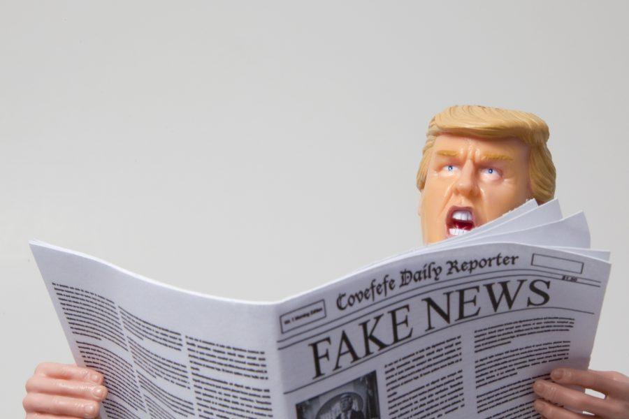 Donald Trump reading fake news