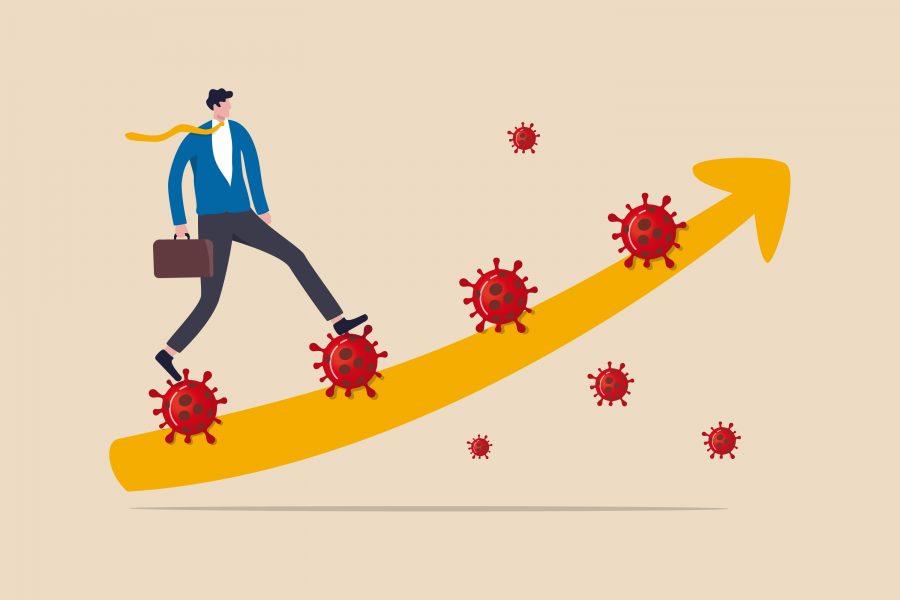 Man riding coronavirus viruses on ascending curve