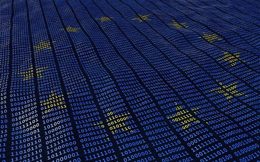 EU flag with binary bits