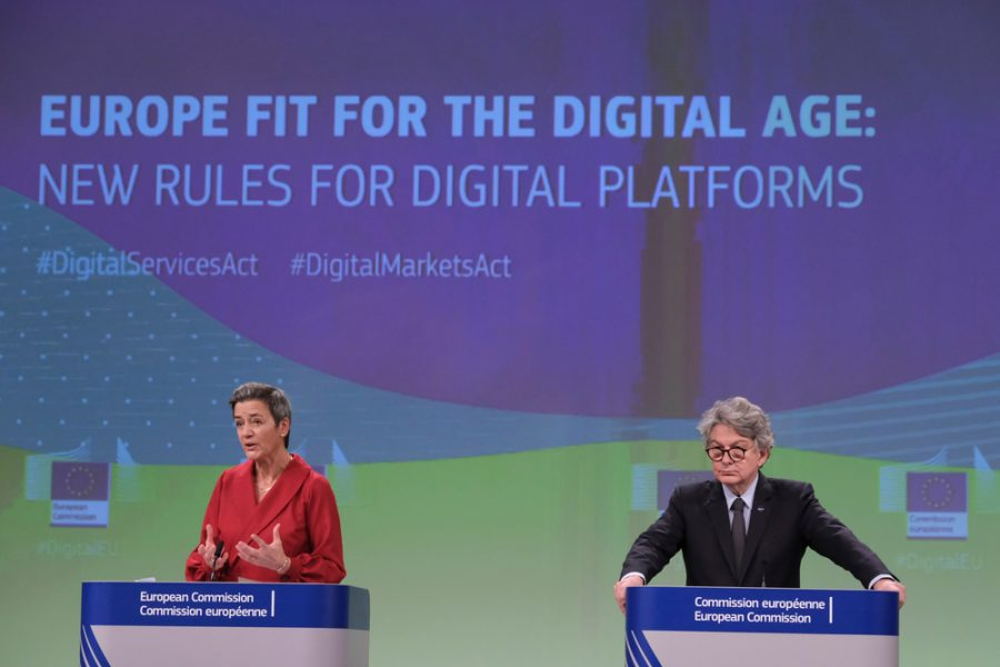 Press conference by Executive Vice-President Margrethe VESTAGER and Commissioner Thierry BRETON, on the Digital Services Act and the Digital Markets Act in Brussels, Belgium on Dec. 15, 2020