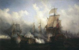 Bataille de Trafalgar, 1805, par Auguste Étienne François Mayer. Domaine public
