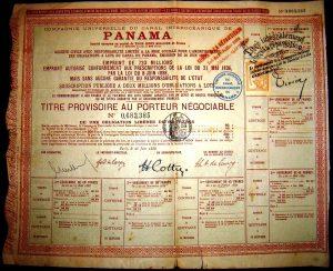 Action provisoire de la Compagnie Universelle du canal interocéanique de Panamà. 1888. Ferdinand de Lesseps [Public domain]