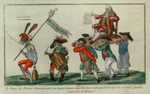 Le Doyen des fermiers généraux porté par quatre commis aux barrières conduit par les troupes de son corps faisant route vers le néant. Domaine Public