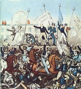 Peinture du massacre de Peterloo (1819) par Richard Carlile(1819). Crédits image : Domaine public