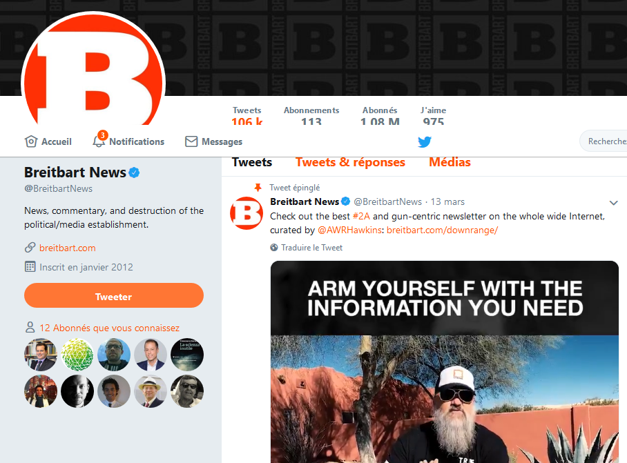 Capture écran - BreitbartNews Twitter - 8 avril 2019