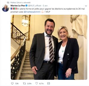 Capture écran du fil Twitter de Matteo Salvini avec Marine Le Pen, 8 avril 2019
