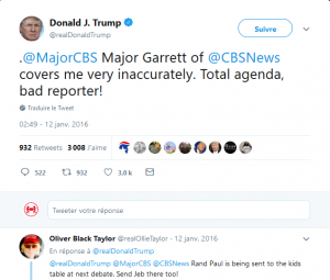 "Trump tweet on 01/12/2016 ""CBS's Major Garrett ""covers me very inaccurately...total agenda, bad reporter"""