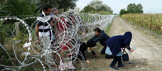 Migrants crossing illegally into Hungary