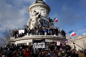 Paris rally in support of the victims of the 2015 Charlie Hebdo shooting, 11 January 2015. Place de la Republique.. Crédits : Olivier Ortelpa