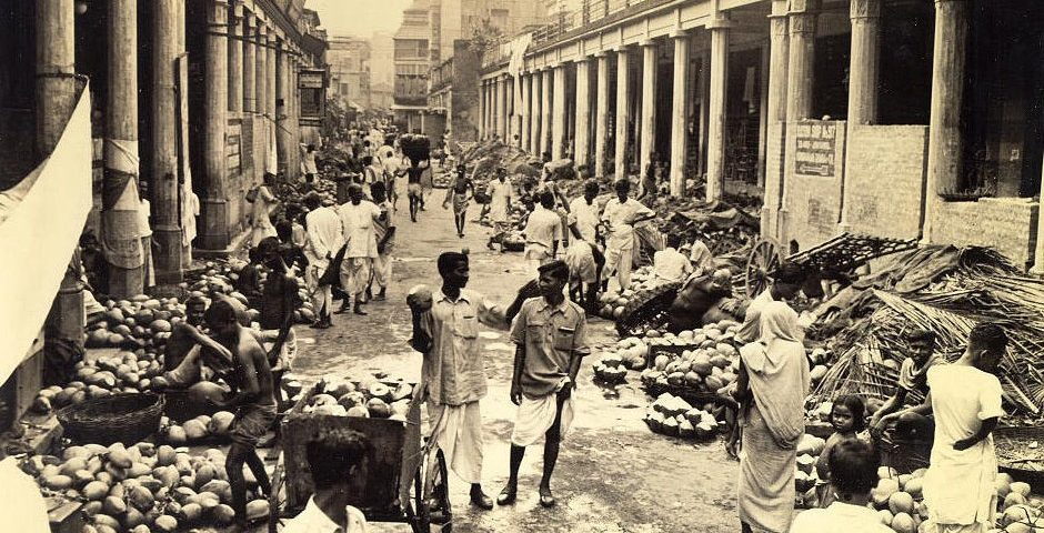 This cocoanut market on Cornwallis Calcutta in 1945 By Clyde Waddell [Public domain], via Wikimedia Commons