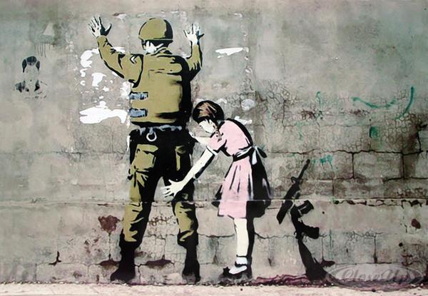 "Banksy graffiti in Bethlehem, Palestine ""La petite fille et le soldat"""