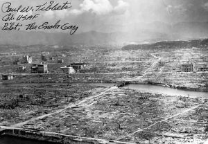 "Destructed Hiroshima with autograph of ""Enola Gay"" Bomber pilot Paul Tibbets. US Public domain"
