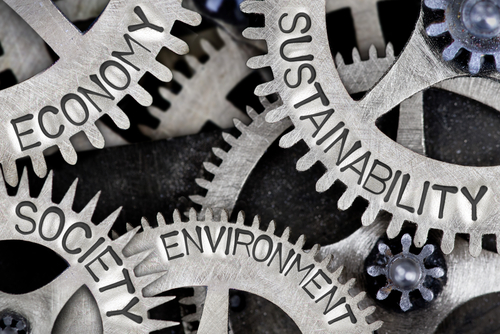 Macro photo of tooth wheel mechanism with SUSTAINABILITY, ECONOMY, SOCIETY and ENVIRONMENT words imprinted on metal surface by EtiAmmos via shutterstock_737412403