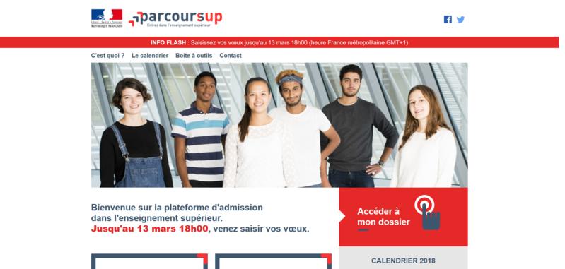 Page d'accueil du site Parcoursup. By Ministère de l'Enseignement supérieur, de la Recherche et de l'Innovation (Capture d'écran - https://www.parcoursup.fr/) [CC0], via Wikimedia Commons