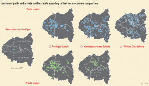 Location of public and private colleges according to their social profile. Source: OSC, Sciences Po.
